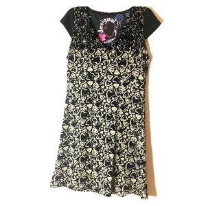 Desigual Black/tan heart dress, size L